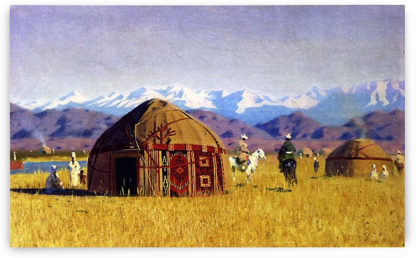 Kirghiz Nomad Tents on the River Chu by Vasily Vasilyevich Vereshchagin