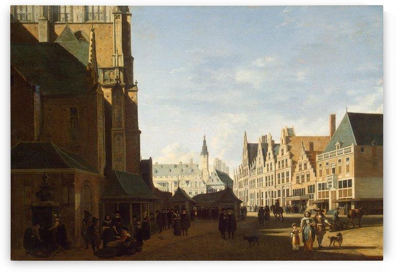 Groote Market in Haarlem by Gerrit Adriaenszoon Berckheyde