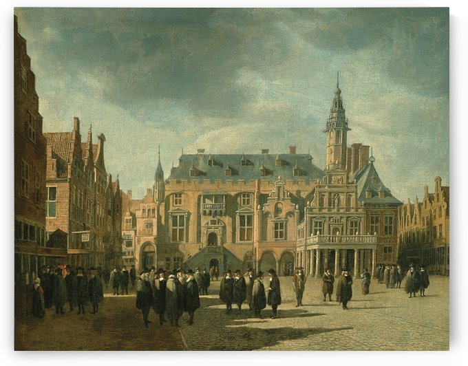 Haarlem City hall with figures on the Grote markt by Gerrit Adriaenszoon Berckheyde
