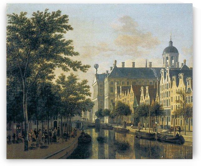 Nieuwezijds Voorburgswal, Amsterdam by Gerrit Adriaenszoon Berckheyde