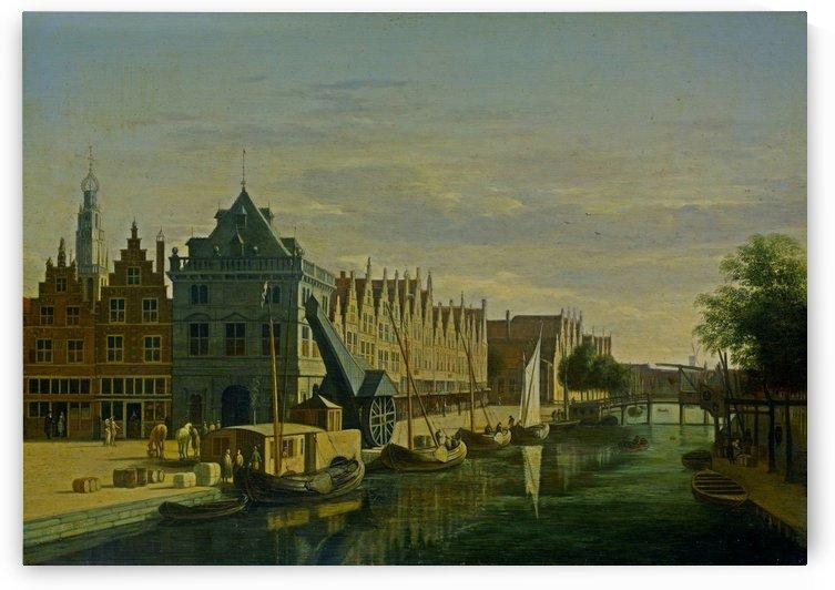 The Waag and the Crane on the Spaarne in Haarlem by Gerrit Adriaenszoon Berckheyde