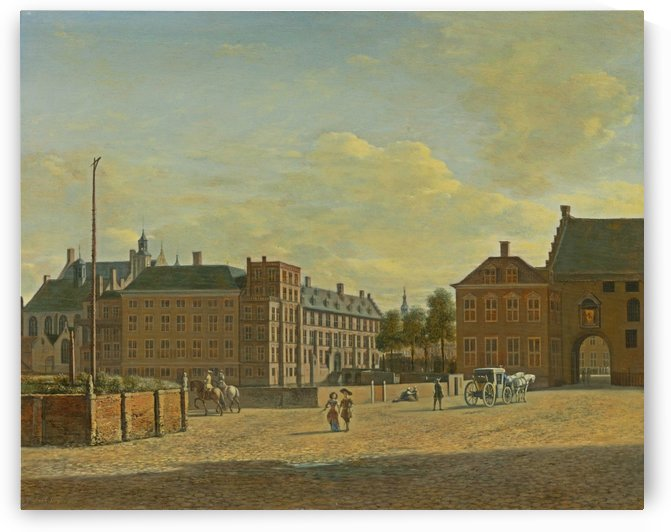 Dutch cityscape with figures by Gerrit Adriaenszoon Berckheyde