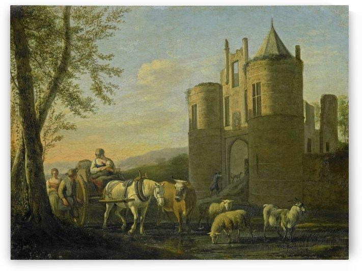 The front gate of castle Egmond by Gerrit Adriaenszoon Berckheyde