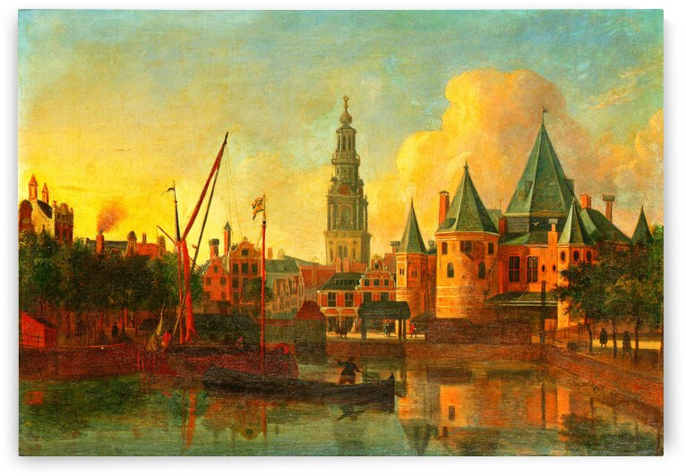 The new market from Amsterdam with the tower of Zuiderkerk by Gerrit Adriaenszoon Berckheyde