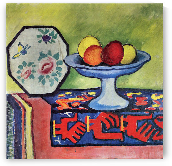 Still life with apple peel and a Japanese fan by August Macke by August Macke