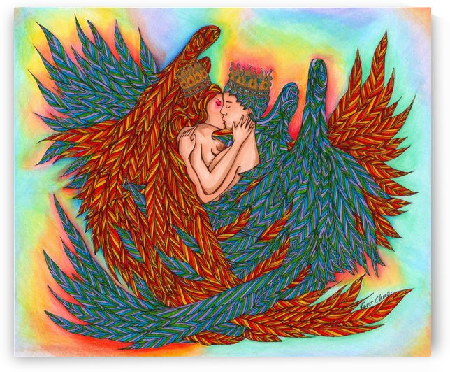 Rainbow Prince And Princess Angels Drawing by Kent Chua