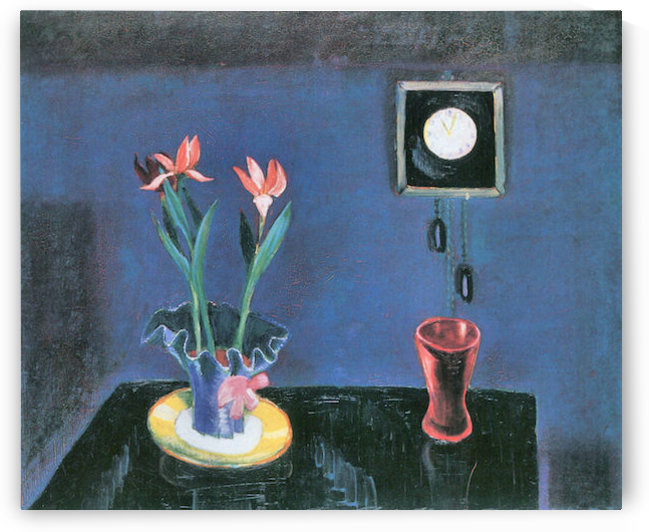 Still life with clock and tulip pot by Walter Gramatte by Walter Gramatte