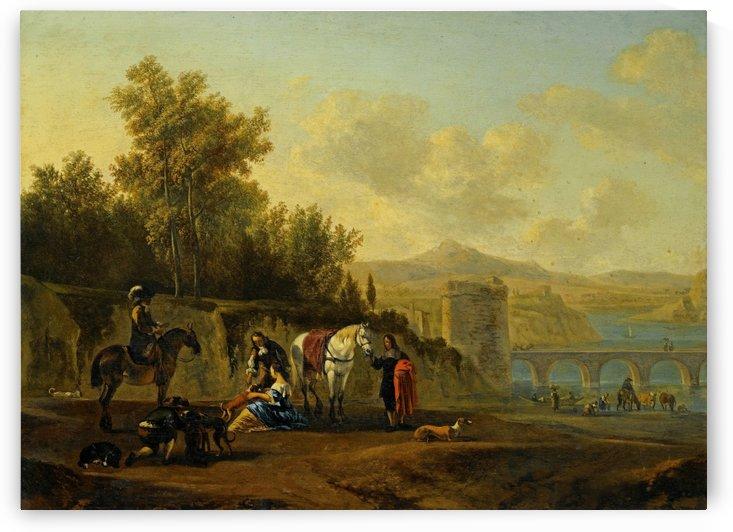 Landscape with figures and bridge by Gerrit Adriaenszoon Berckheyde