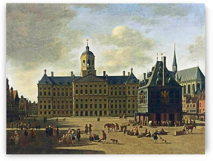 View of the Dam with the Town Hall by Gerrit Adriaenszoon Berckheyde