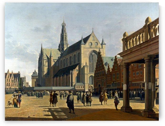 The Market Place and the Grote Kerk at Haarlem by Gerrit Adriaenszoon Berckheyde