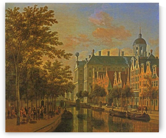 The Nieuwezijds Voorburgswal Amsterdam by Gerrit Adriaenszoon Berckheyde