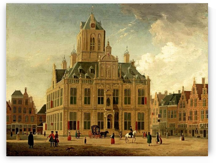 Town hall in Delft by Gerrit Adriaenszoon Berckheyde