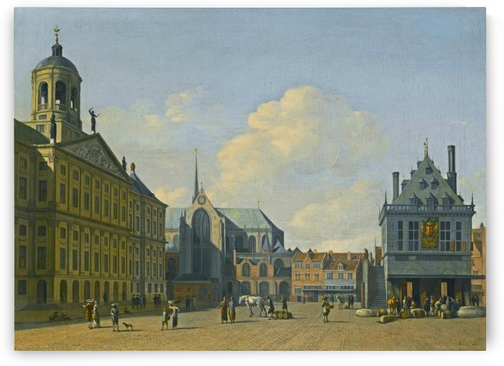 Amsterdam, a view of the Dam Square in the late afternoon by Gerrit Adriaenszoon Berckheyde