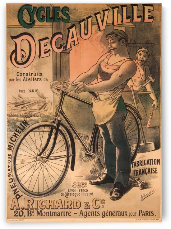 Cycles DeCauville vintage poster by VINTAGE POSTER