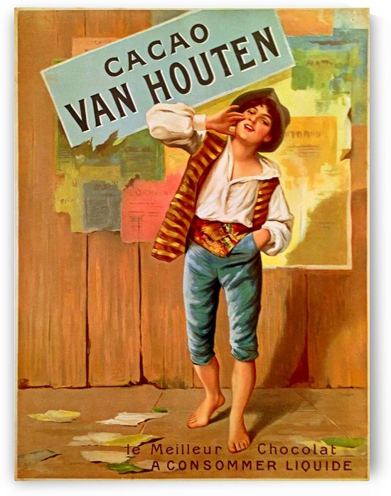 French Art Nouveau Period Poster for Cacao Van Houten by VINTAGE POSTER