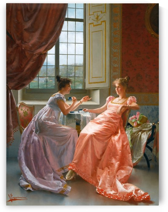 Two ladies talking about letters and drinking tea by Vittorio Reggianini