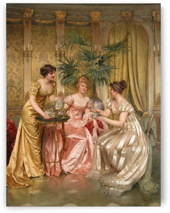 Ladies having tea by Vittorio Reggianini