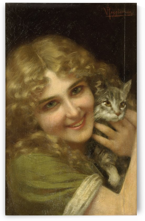Girl with kitty by Vittorio Reggianini