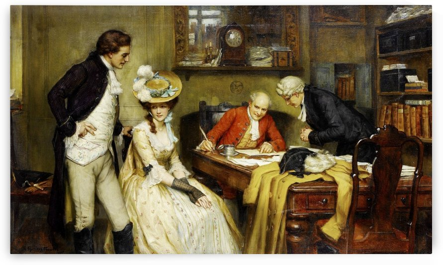 Signing the marriage contract, 1905 by George Sheridan Knowles