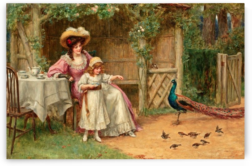 Ladies and birds in the garden by George Sheridan Knowles