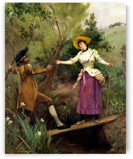 Meeting on the small wood brigde by George Sheridan Knowles