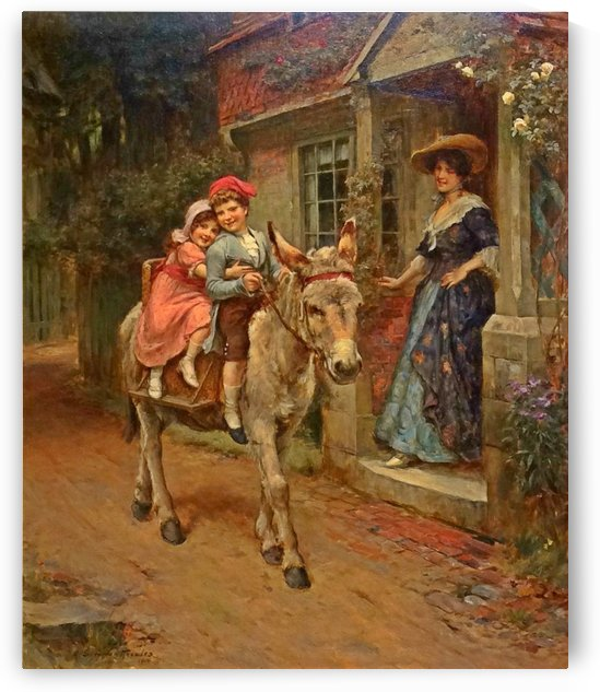 Children on the donkey by George Sheridan Knowles