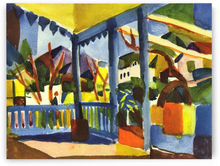 Terrace of the villa in St. Germain by August Macke by August Macke