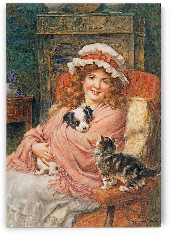 Girl with cute pets by George Sheridan Knowles