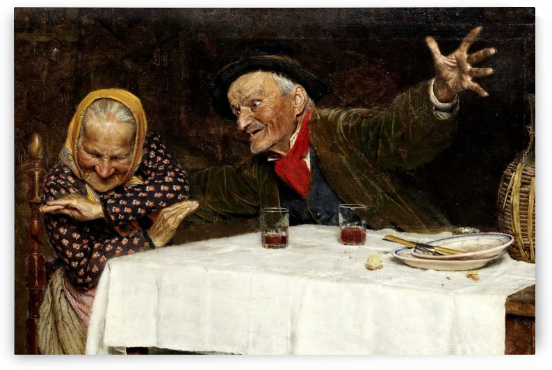 Two old people having a meal by Gaetano Bellei