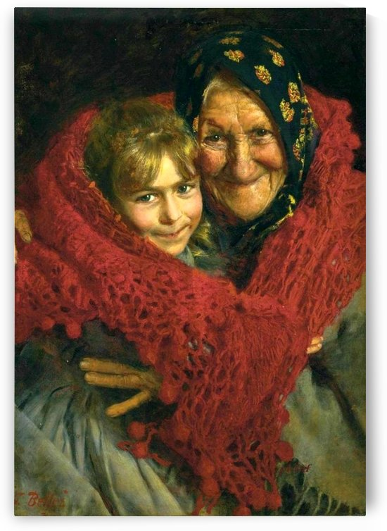 Grandmother and child by Gaetano Bellei