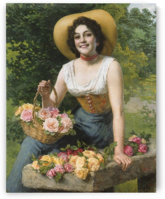 A beauty holding a basket of roses by Gaetano Bellei