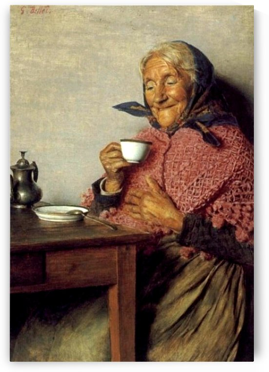 Old lady having a tea by Gaetano Bellei
