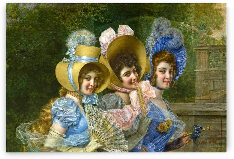 Three ladies in the garden by Gaetano Bellei
