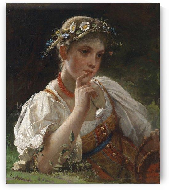 Madchen in Tracht mit Blumenkranz by Firs Zhuravlyov
