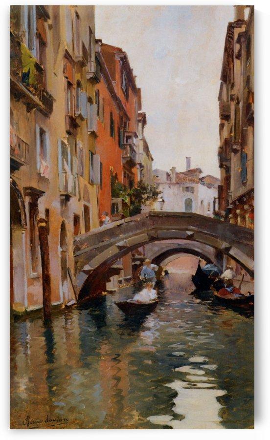 Gondola On a Venetian Canal by Rubens Santoro