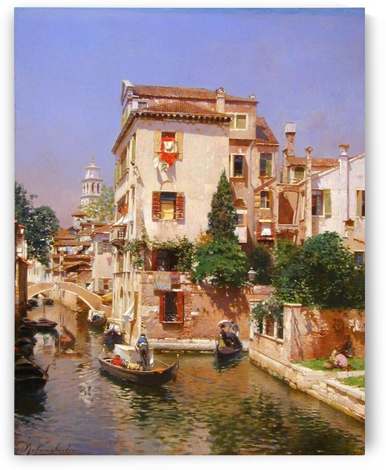 Gondoliers On A Venetian Canal by Rubens Santoro