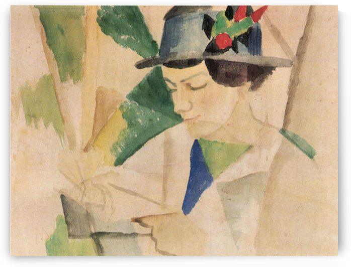 The wife of the painter, reading by August Macke by August Macke