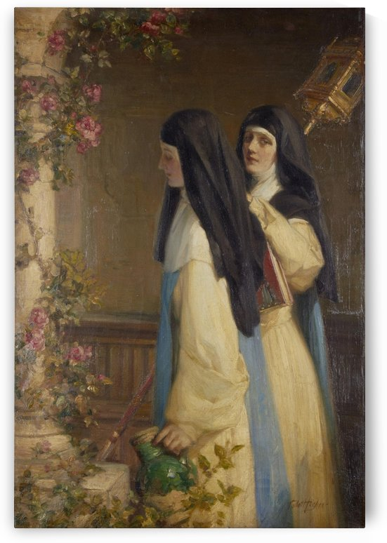 Two nuns in a cloister by Talbot Hughes