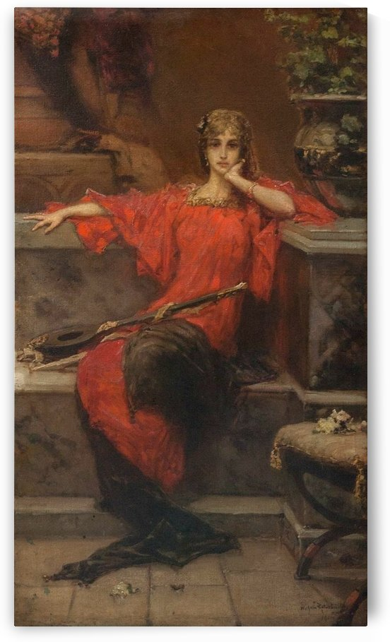 Lady in red by Talbot Hughes