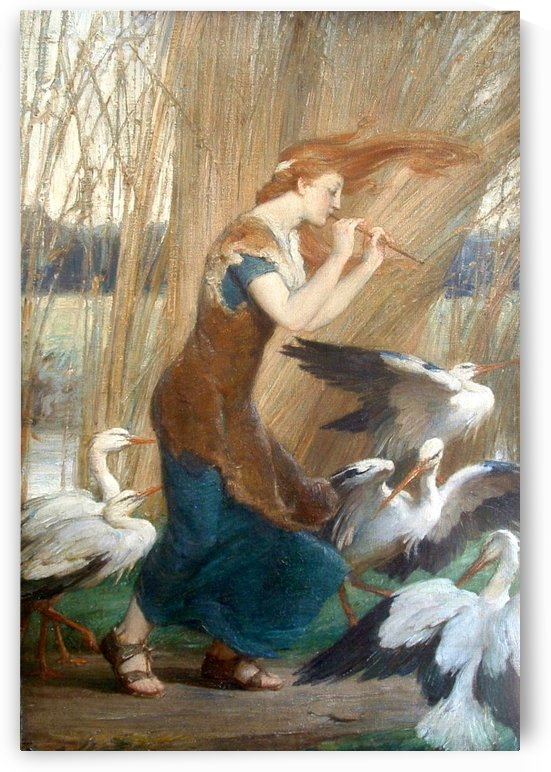 Girl playing along with storks by Talbot Hughes