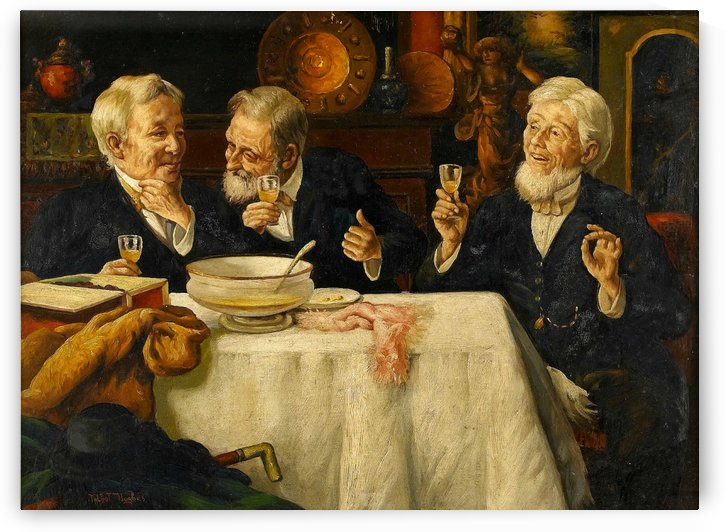 Three men dining by Talbot Hughes