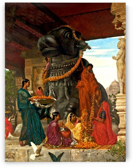 The handmaidens of Sivawara preparing the sacred bull at Tanjore by Valentine Cameron Prinsep