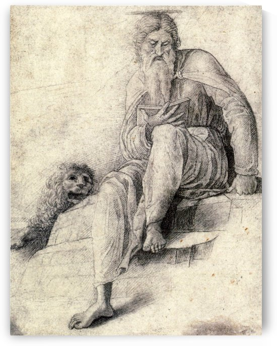 Saint Jerome Reading with the Lion by Andrea Mantegna