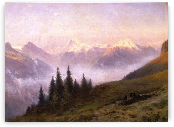 A view of the Jungfrau Massif seen from Grindelwald by Toussaint Gabriel Loppe