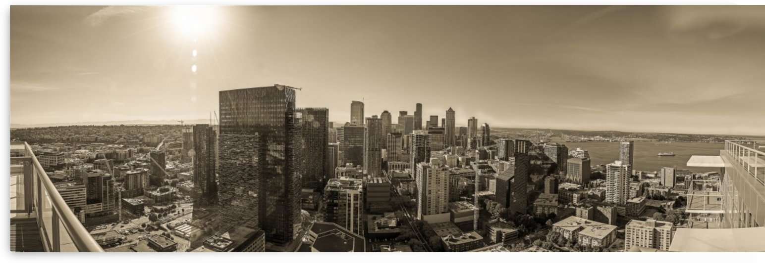 Panoramic View of Downtown Seattle  by Steve