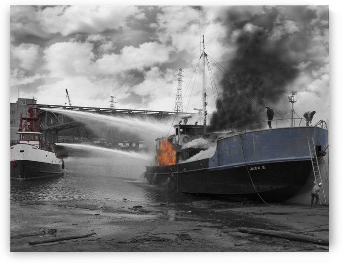 Seattle Fireboat in Action by Steve