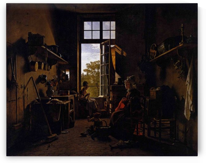 Dark interior of a kitchen by Martin Drolling