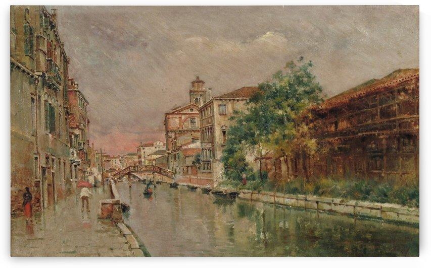 Canale veneziano sotto la pioggia by Antonio Maria Reyna Manescau