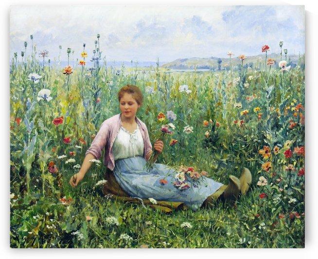 Picking wildflowers by Daniel Ridgway Knight
