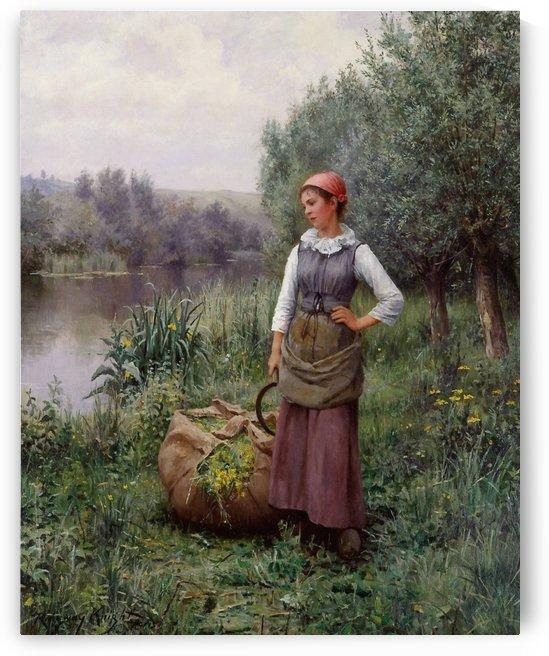 Girl by a stream by Daniel Ridgway Knight